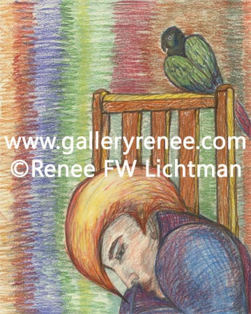 """Bird Watching "" Pastels on Drawing Paper, Fantasy Art Gallery, Figurative and Portrait Art Gallery,Original Art Gallery, Fine Art for Sale from Artist Renee FW Lichtman"