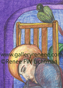 """Bird Watching Special Edition"" Pastels, Ballpoint Pen and Digital Recomposition, Figurative and Portrait Art Gallery, Fine Art for Sale from Artist Renee FW Lichtman"