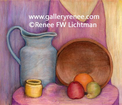 """Blue Pitcher Wooden Bowl"" Pastels on Pastel Paper, Original Art Gallery, Still Life Art Gallery,Fine Art for Sale from Artist Renee FW Lichtman"