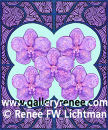 """Five Vandas""  Ballpoint Pen and Pen and Ink with Digital Recomposition, Botanical and Floral Art Gallery, Artist Renee FW Lichtman"