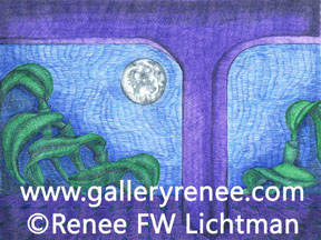 """Moon Over Cattleya""  Ballpoint Pens, Fantasy Art Gallery, Artist Renee FW Lichtman"