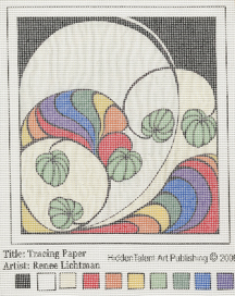 """Tracing Paper Needlepoint Art""  Pigmented Ink on Needlepoint Canvas, Needlepoint Art Gallery, Artist Renee FW Lichtman"