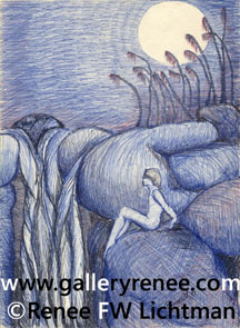 """Rock Nymph"" Ballpoint Pen Drawing, Figurative and Portrait Art Gallery, Fine Art for Sale from Artist Renee FW Lichtman"