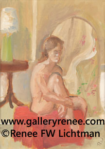 """Small Nude"" Oil Painting on Canvas Board, Figurative and Portrait Art Gallery, Fine Art for Sale from Artist Renee FW Lichtman"