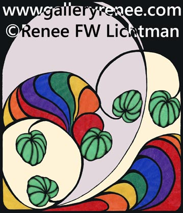 """Smooth Tracing"" Digital Recomposition from a Colored Pencil Drawing, Abstract Art Gallery, Botanical and Floral Art Gallery, Fine Art for Sale from Artist Renee FW Lichtman"