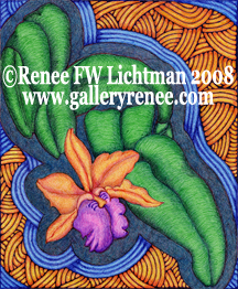 """Stained Glass Cattleya"" Ballpoint Pen Art, Orchid Art Gallery, Artist Renee FW Lichtman"