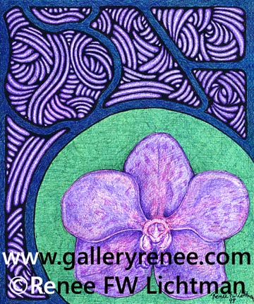 """Stained Glass Vanda Green"" Ballpoint Pen and Pen and Ink, Ballpoint Pen Art,Botanical and Floral Art,Orchid Art, Original Art,Fine Art for Sale from Artist Renee FW Lichtman"