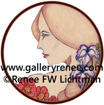 """Victoria"" Digital Recompostion from a Crayon drawing with Ballpoint Pen, Figurative and Portrait Art Gallery,Fine Art for Sale from Artist Renee FW Lichtman"