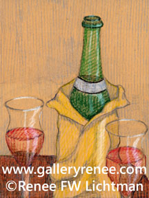 """TWine and Glasses""  Crayon, Still Life Art Gallery, Artist Renee FW Lichtman"